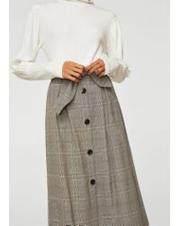 Mango - Brown Decorative Bow Skirt - Lyst