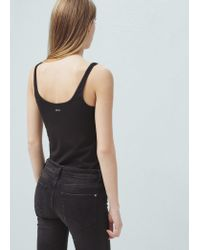 Mango - Black Strap Cotton T-shirt - Lyst