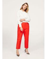Violeta by Mango - Orange Cropped Button Pants - Lyst