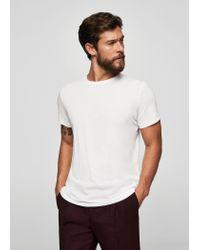 Mango - White Essential Cotton-blend T-shirt for Men - Lyst
