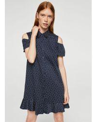 Mango - Blue Ruffles Cold-shoulder Dress - Lyst