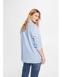 Violeta by Mango - Blue Embroidered Fine-stripe Blouse - Lyst