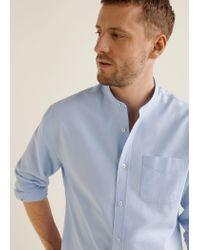 Mango - Blue Regular-fit Mao Collar Shirt for Men - Lyst