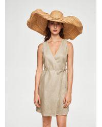 b612a2b1f8 Lyst - Mango Linen Wrap Dress in Natural