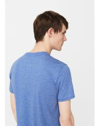 Mango - Blue Printed Cotton T-shirt for Men - Lyst