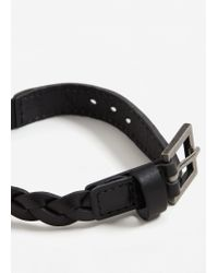 Mango | Black Leather Braided Bracelet | Lyst