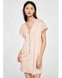 Mango - Pink Zipped Dress - Lyst