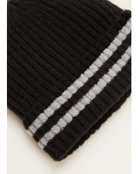 Mango - Black Striped Knit Hat for Men - Lyst