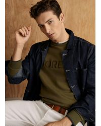Mango - Green Embroidered Message Sweatshirt for Men - Lyst