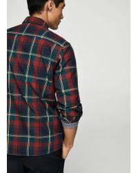 Mango Red Regular-fit Check Cotton Shirt for men