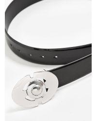 Mango - Black Buckle Patent Belt - Lyst