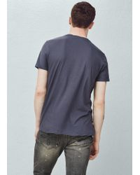 Mango - Blue Soft Egyptian-cotton T-shirt for Men - Lyst