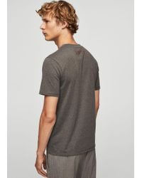 Mango - Gray Printed Picture Cotton T-shirt for Men - Lyst