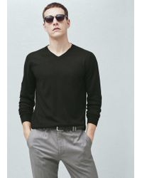 Mango | Black V-neck Wool Sweater for Men | Lyst
