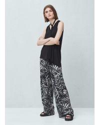 Mango | Black Printed Culottes | Lyst