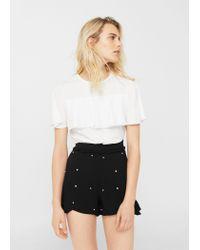 Mango - Black Pearl Flowy Shorts - Lyst