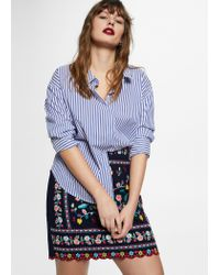 8640b256c Violeta by Mango Floral Embroidery Skirt in Blue - Lyst