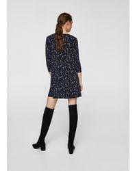 Mango | Blue Flowy Printed Dress | Lyst
