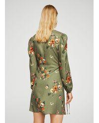 Mango - Green Floral Wrap Dress - Lyst