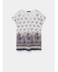 Violeta by Mango - Gray Printed Linen-blend T-shirt - Lyst