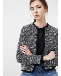 Mango | Gray Mango Frayed Trim Cropped Jacket, Black | Lyst