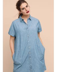 Violeta by Mango - Blue Light Denim Dress - Lyst