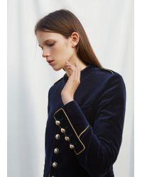 Mango | Blue Military Style Coat | Lyst
