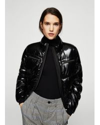 Mango - Black Vinyl Quilted Coat - Lyst