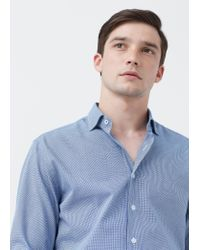 Mango | Blue Slim-fit Micro-houndstooth Tailored Shirt for Men | Lyst