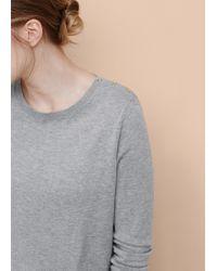 Violeta by Mango - Gray Decorative Button Sweater - Lyst