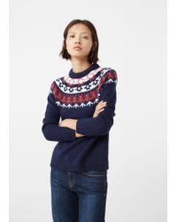 Mango - Blue Chunky-knit Sweater - Lyst