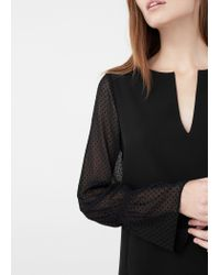 Mango - Black Contrast Sleeve Dress - Lyst
