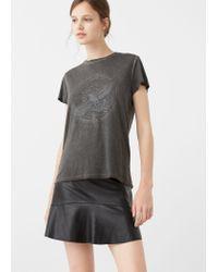 Mango - Gray Printed Image T-shirt - Lyst