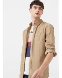 Mango - Natural Slim-fit Corduroy Shirt for Men - Lyst