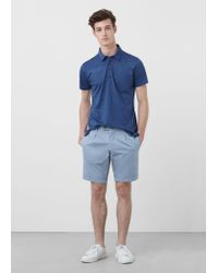 Mango - Blue Cotton Pleated Bermuda Shorts for Men - Lyst