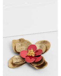 Mango - Metallic Flower Brooch - Lyst