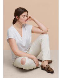Violeta by Mango - White Pocket Linen-blend T-shirt - Lyst