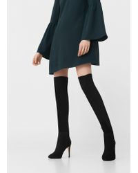 Mango - Black Over The Knee Heel Boots - Lyst