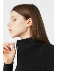 Mango - Black Zip Knitted Dress - Lyst