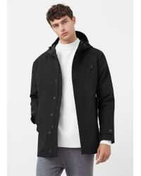 Mango - Black Cotton Nylon-blend Parka for Men - Lyst
