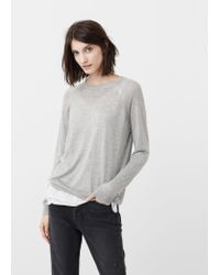 Mango - Gray Fine-knit Sweater - Lyst