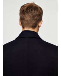 Mango - Blue Wool-blend Classic Coat for Men - Lyst