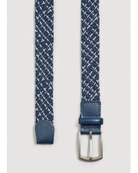 Mango - Blue Two-tone Braided Belt for Men - Lyst