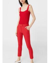 Mango - Red Crop Slim-fit Trousers - Lyst