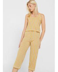 Mango - Yellow Striped Knit Trousers - Lyst