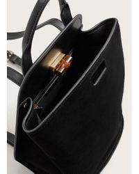 Violeta by Mango - Black Bamboo Button Suede Backpack - Lyst