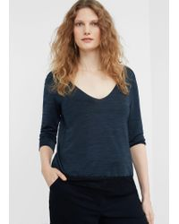 Violeta by Mango   Black Lace Panel T-shirt   Lyst