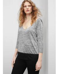 Violeta by Mango | Gray Lace Panel T-shirt | Lyst