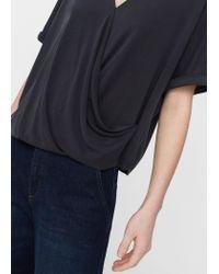 Mango   Blue Draped Detail T-shirt   Lyst