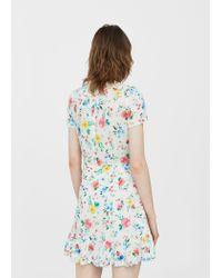 Mango - White Floral Wrap Dress - Lyst